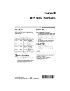 thumbnail of Honeywell thermostat t812_manual