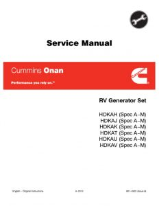 thumbnail of 981-0522 Onan HDKA (spec A-M) Diesel RV Genset Service manual (06-2010)